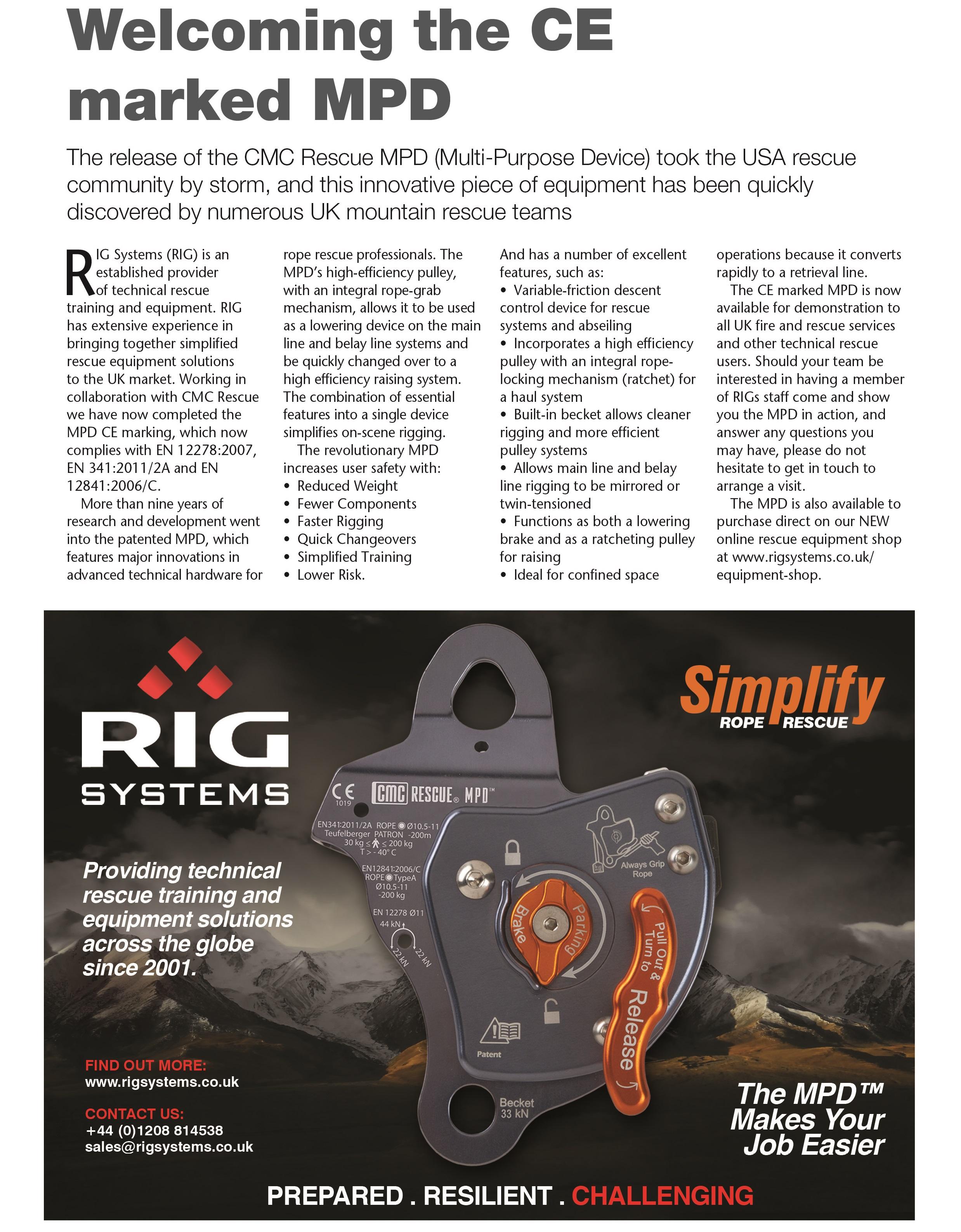 CMC Rescue MPD (multi purpose device) article, FIRE magazine, RIG Systems